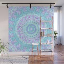 Cyan, Turquoise, and Purple Kaleidoscope Wall Mural