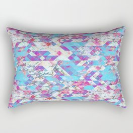 Blue magenta marble grungy triangles Rectangular Pillow
