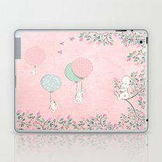 Cute flying Bunny with Balloon and Flower Rabbit Animal on pink floral backround Laptop & iPad Skin