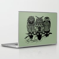feathers Laptop & iPad Skins featuring Owls of the Nile by Rachel Caldwell