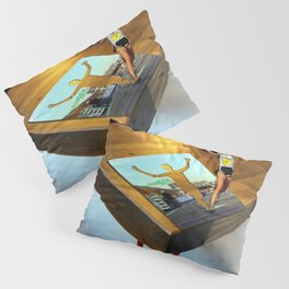 Jog -  Table -  Run -  Photo Manipulation -  Sport - Vintage illustration. Retro décor. Pillow Sham