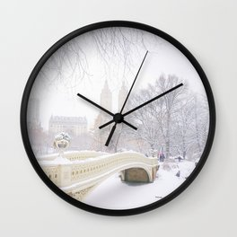 Central Park New York City Snow Day Wall Clock