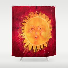 Digital painting of a chubby sun with a funny face Shower Curtain