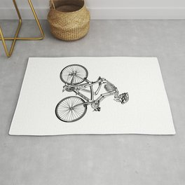 Human skeleton riding racing bicycle Rug