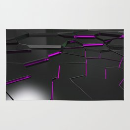 Black fractured surface with purple glowing lines Rug
