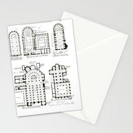 Banister Fletcher - History of Architecture, 17th ed. (1946) - Spanish Cathedral Floor Plans Stationery Cards