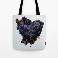 lovers Tote Bags featuring LOVERS by i am gao
