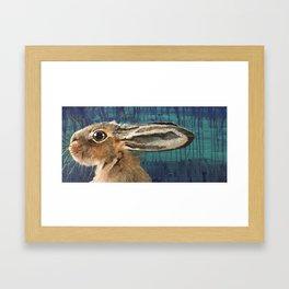 Hare on Blue Framed Art Print