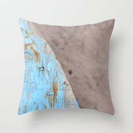 Turquoise Beach Wood I Throw Pillow