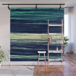Blue Teal Texture Stripes Wall Mural
