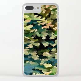 Foliage Abstract In Green, Peach and Phthalo Blue Clear iPhone Case