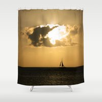 sailboat Shower Curtains featuring Sailboat Sunset by Bizzack Photography