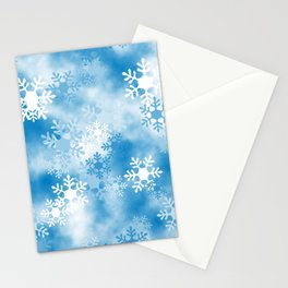 Christmas Elements Blue White Snowflakes Design Pattern Stationery Cards