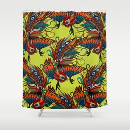 rooster ink chartreuse Shower Curtain