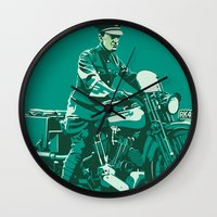 palestine Wall Clocks featuring T.E. Lawrence on his Brough Superior by Saddle Bums