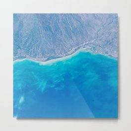 Pacific Ocean, California, Nature, Malibu, Los Angeles, Costline, Satellite, Landscape Metal Print