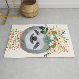 Sloth with flowers on head Rug