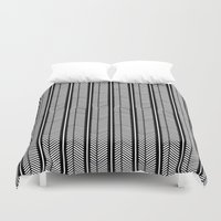 herringbone Duvet Covers featuring Herringbone Stripe by Project M