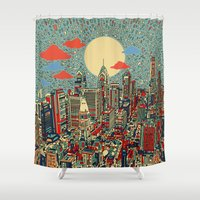shipping Shower Curtains featuring philadelphia by Bekim ART