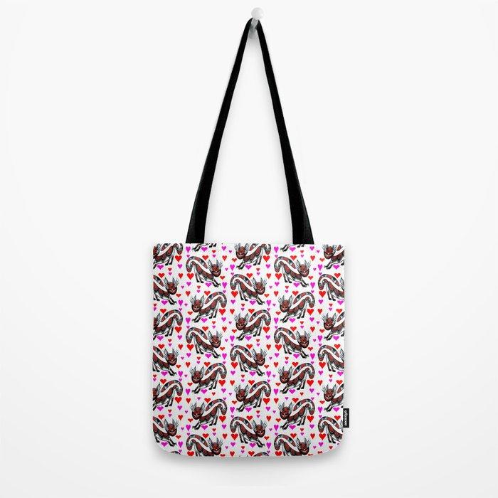 Red Sneaky Cat Tote Bag
