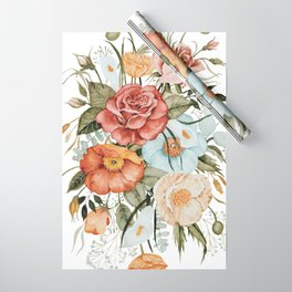 Roses and Poppies Wrapping Paper