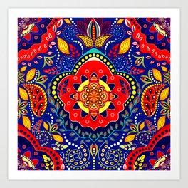 Bono Fantasy Pattern Red and Blue Art Print