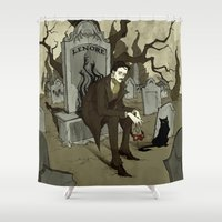 edgar allan poe Shower Curtains featuring Edgar Allan Poe by Abigail Larson