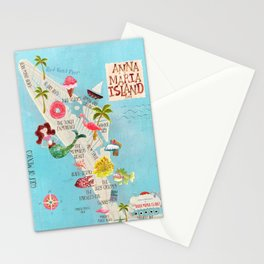 Anna Maria Island Map Stationery Cards