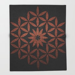 The Flower of Life - Ancient copper Throw Blanket