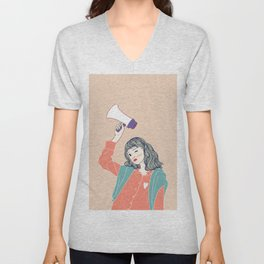 Women holding Megaphones are being announced in public places. Unisex V-Neck