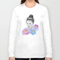 peony Long Sleeve T-shirts featuring Peony by Libby Watkins Illustration