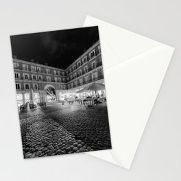Night Time at the Plaza Mayor of Madrid BW Stationery Cards