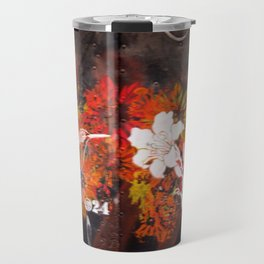 Hummingbird and flower graffiti Travel Mug