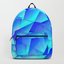 Abstract celestial pattern of blue and luminous plates of triangles and irregularly shaped lines. Backpack
