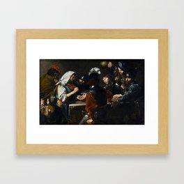 Valentin de Boulogne - Fortune Teller - Renaissance Fine Art Retro Vintage Oil Painting Framed Art Print