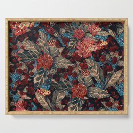 Deep moody floral watercolor - dark red,  rich dark blue and brown Serving Tray