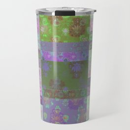 Lotus flower purple and lime green stitched patchwork - woodblock print style pattern Travel Mug