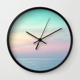 Pastel retro Malibu VII calm ocean & sky Wall Clock