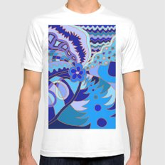 Abstract 30 White MEDIUM Mens Fitted Tee