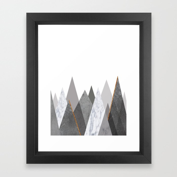 Marble Gray Copper Black and White Mountains Framed Art Print