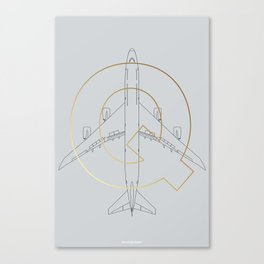 747 technical drawing plane Canvas Print