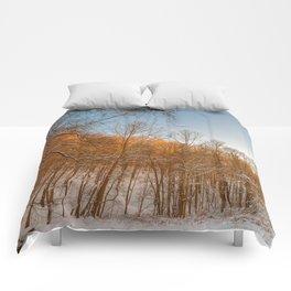 Golden Winter Forest Comforters