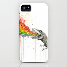 T-Rex Dinosaur Rainbow Puke Taste the Rainbow Watercolor iPhone Case