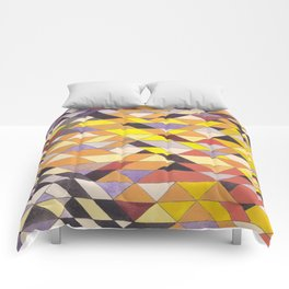 Triangle Pattern No.8 Black and Yellow Comforters
