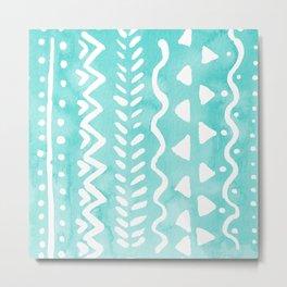 Loose boho chic pattern - aqua Metal Print