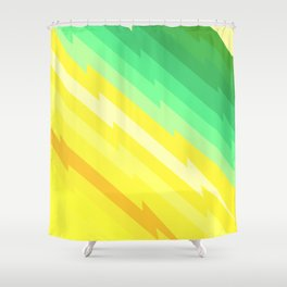 Thunder bolts pattern green yellow Shower Curtain