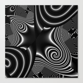 fractal forms in blackwhite -1- Canvas Print