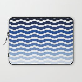 Ocean waves navy blue striped pattern, minimalist summer waves Laptop Sleeve