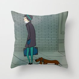 Dog Walking Illustration - Dog and Owner Throw Pillow