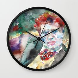 DYLAN THOMAS watercolor portrait.3 Wall Clock